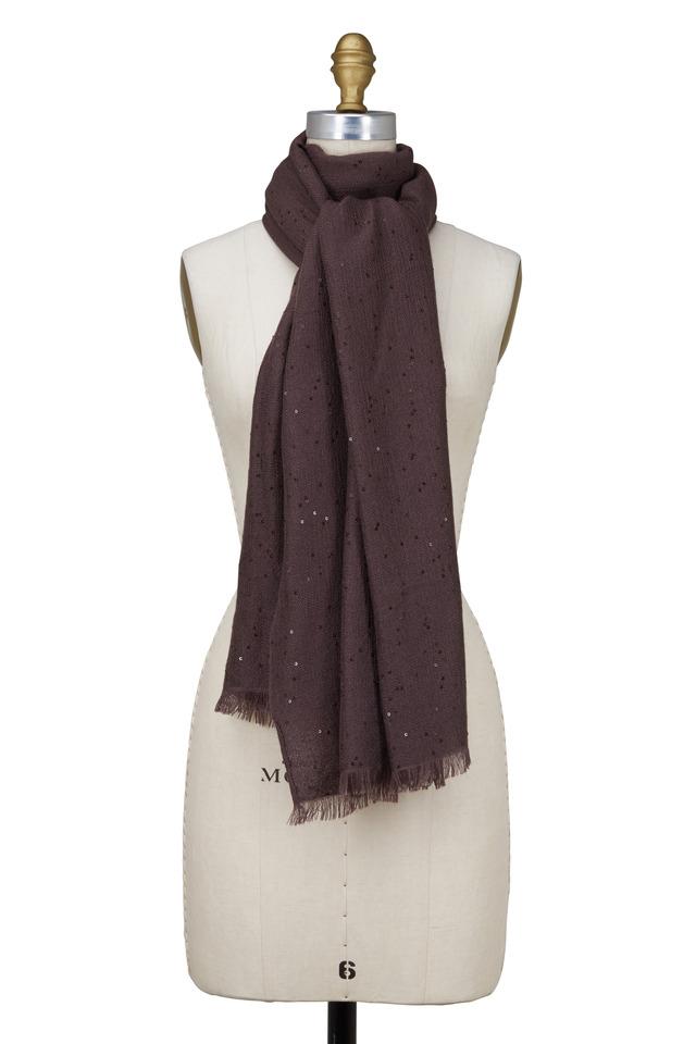 Brown Cashmere & Silk Pailette Scarf