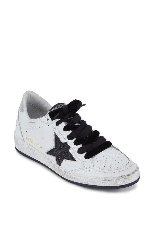 Golden Goose Women's Ball Star White & Black Glitter Sneaker