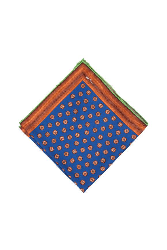 Kiton Blue, Orange & Lime Geometric Silk Pocket Square