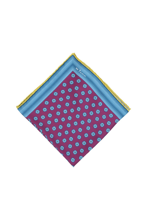 Kiton Fuchsia & Blue Geometric Silk Pocket Square