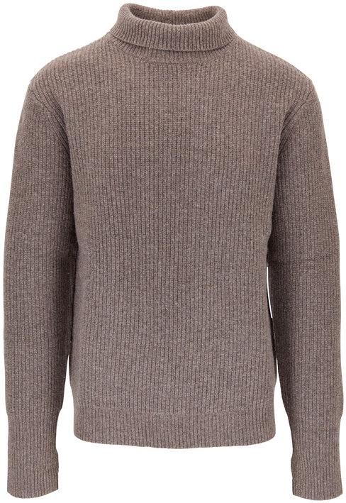 BLDWN Warm Gray Ribbed Wool Turtleneck