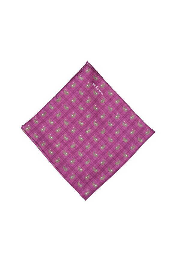 Kiton Fuchsia Paisley Silk Pocket Square