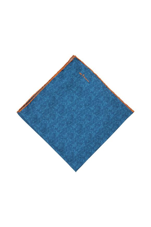 Kiton Blue & Orange Silk Pocket Square
