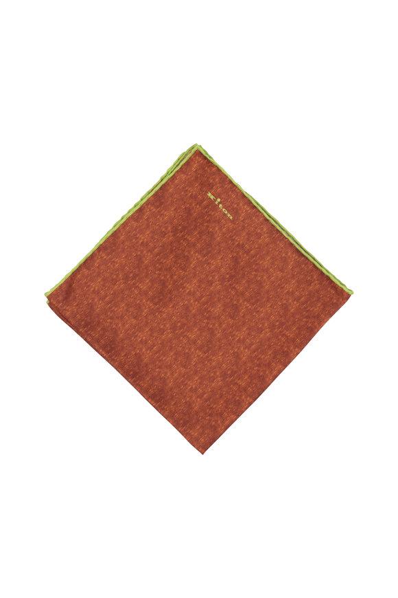 Kiton Orange & Lime Silk Pocket Square