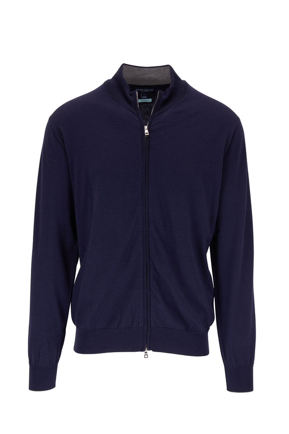 Peter Millar Excursion Navy Front Zip Cardigan