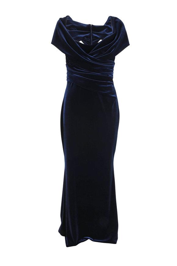 Talbot Runhof Tokara5 Midnight Velvet Cut-Out Gown