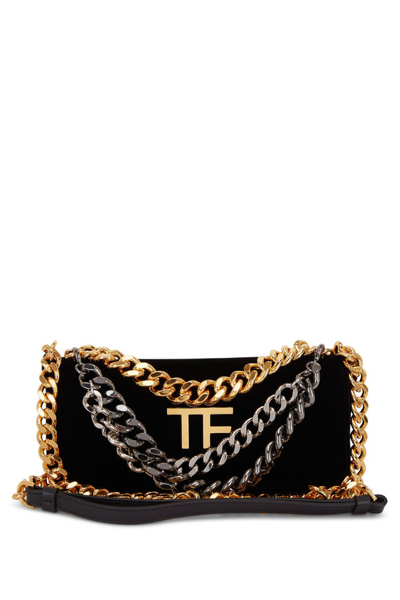 Tom Ford Triple Chain Black Velvet Small Bag
