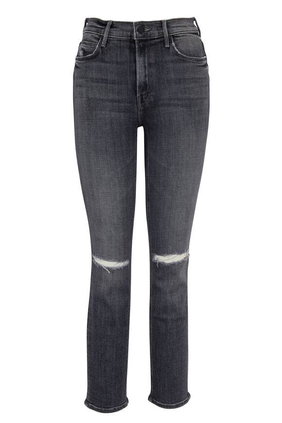 Mother Denim The Dazzler Washed Black Mid-Rise Ankle Jean