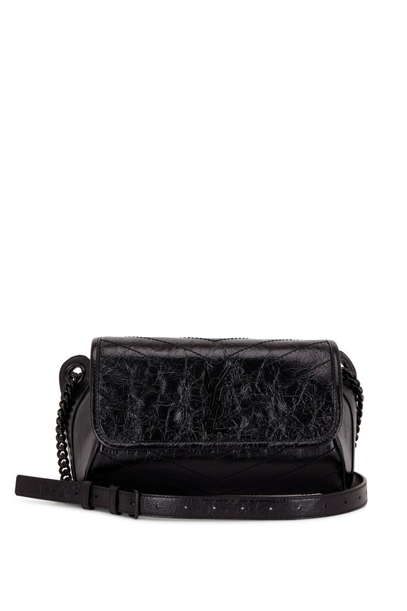 Saint Laurent Niki Black Quilted Leather Shoulder/Belt Bag