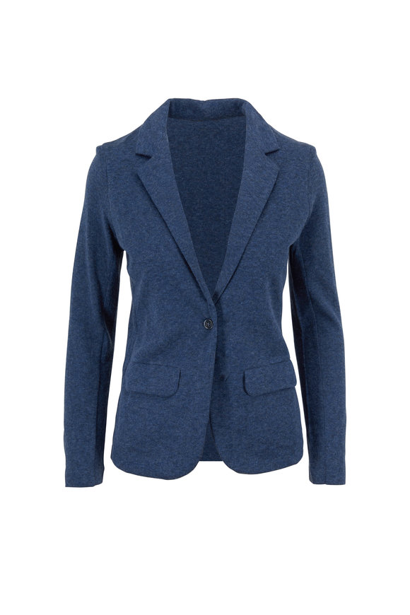 Majestic Denim Blue Cotton & Cashmere Single Button Jacket