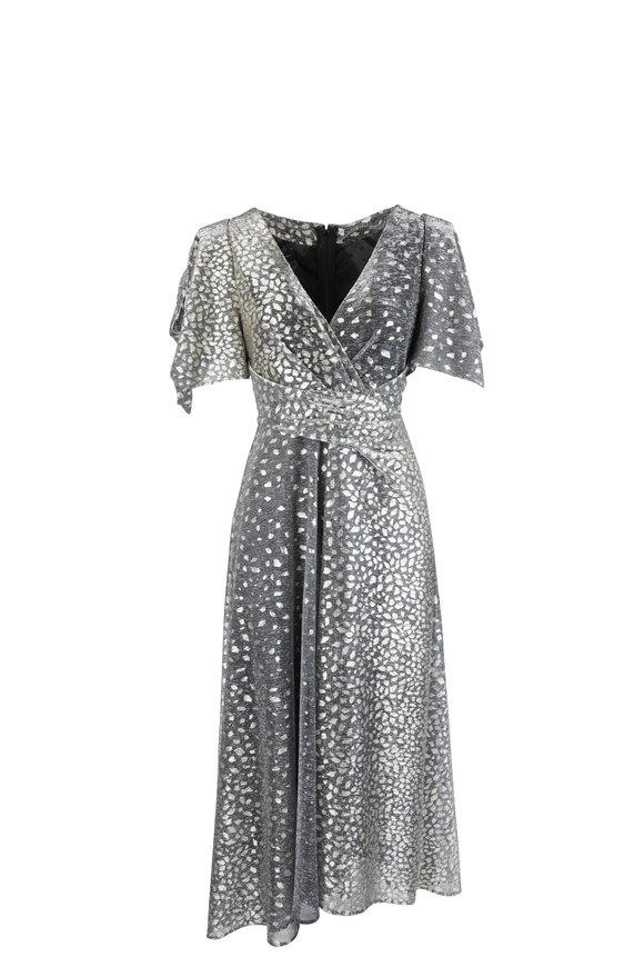 Talbot Runhof Gray Metallic Degrade Voile Flutter Sleeve Gown