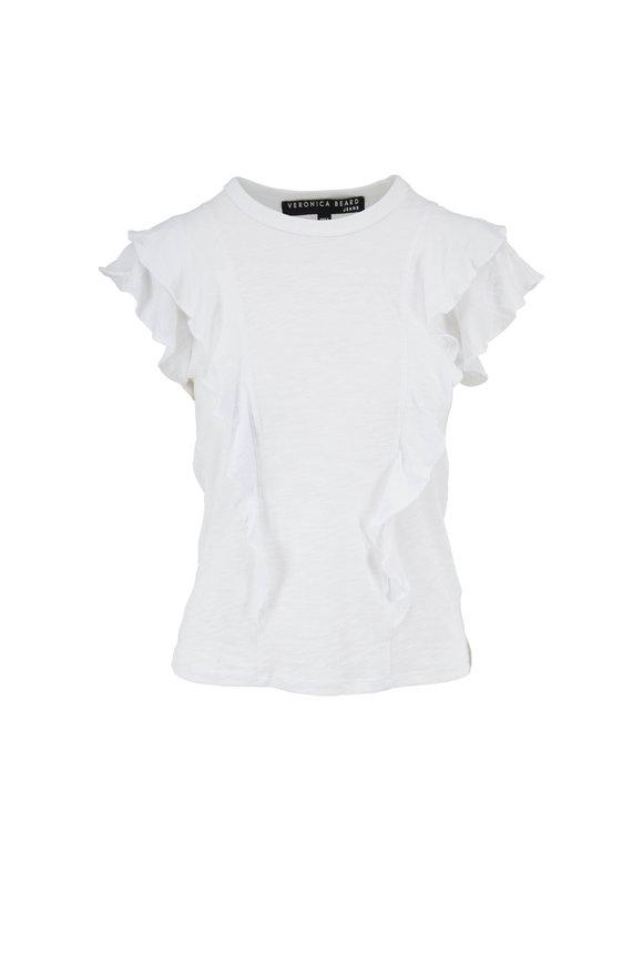 Veronica Beard White Tiered Ruffle Short Sleeve T-Shirt