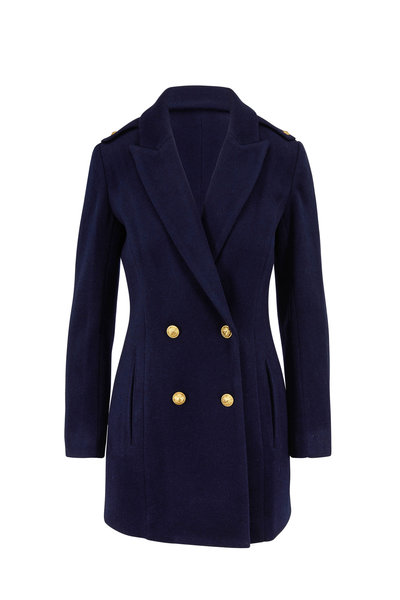 L'Agence - Emmi Navy Wool Blend Double-Breasted Peacoat