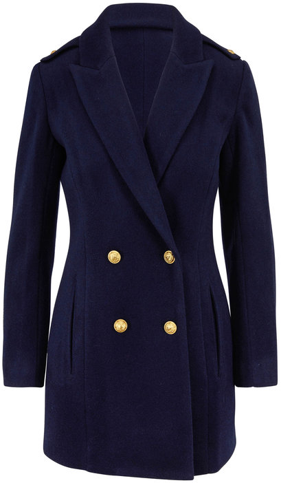 L'Agence Emmi Navy Wool Blend Double-Breasted Peacoat