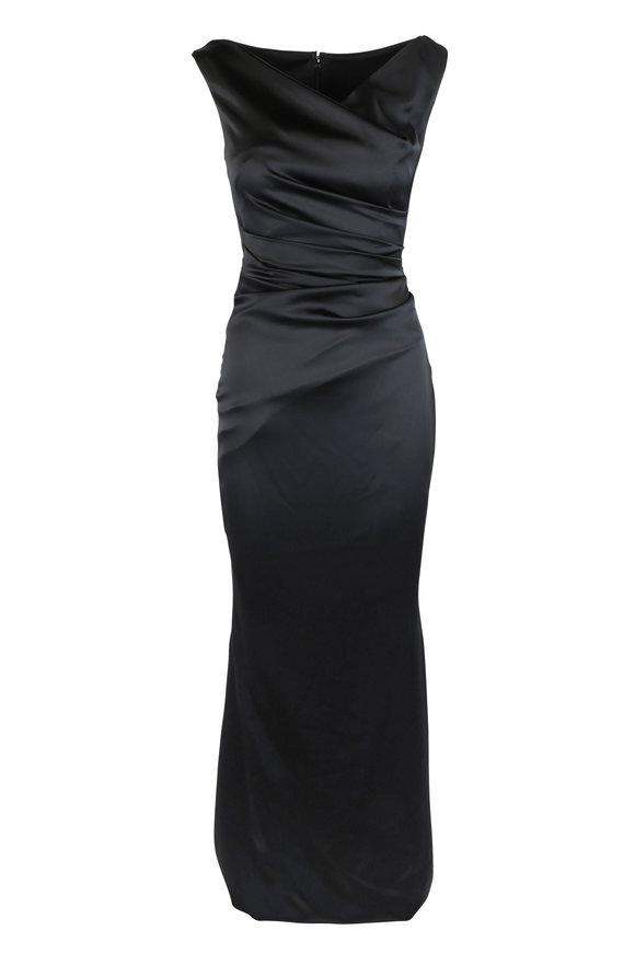 Talbot Runhof Kombo1 Black Fishtail Sleeveless Gown
