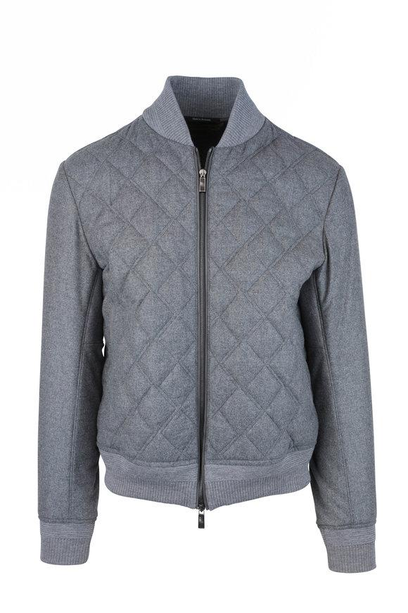 Ermenegildo Zegna Gray Wool, Silk & Cashmere Quilted Bomber Jacket