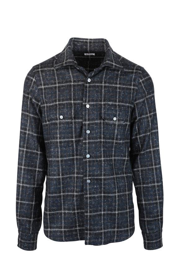 Kiton Blue Cashmere Windowpane Overshirt