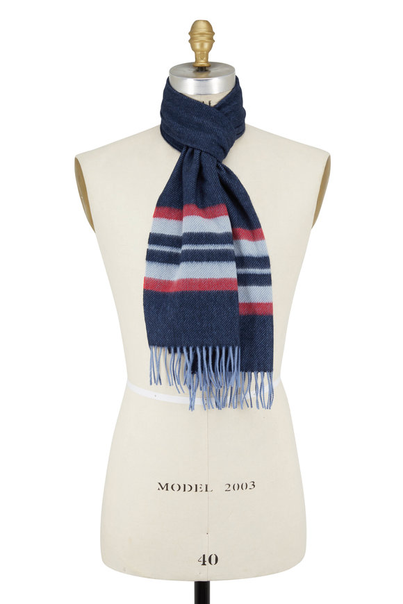 Chelsey Imports Red & Navy Striped Cashmere Scarf
