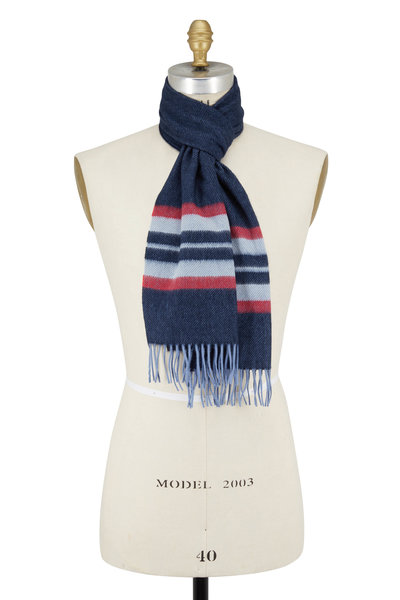 Chelsey Imports - Red & Navy Striped Cashmere Scarf