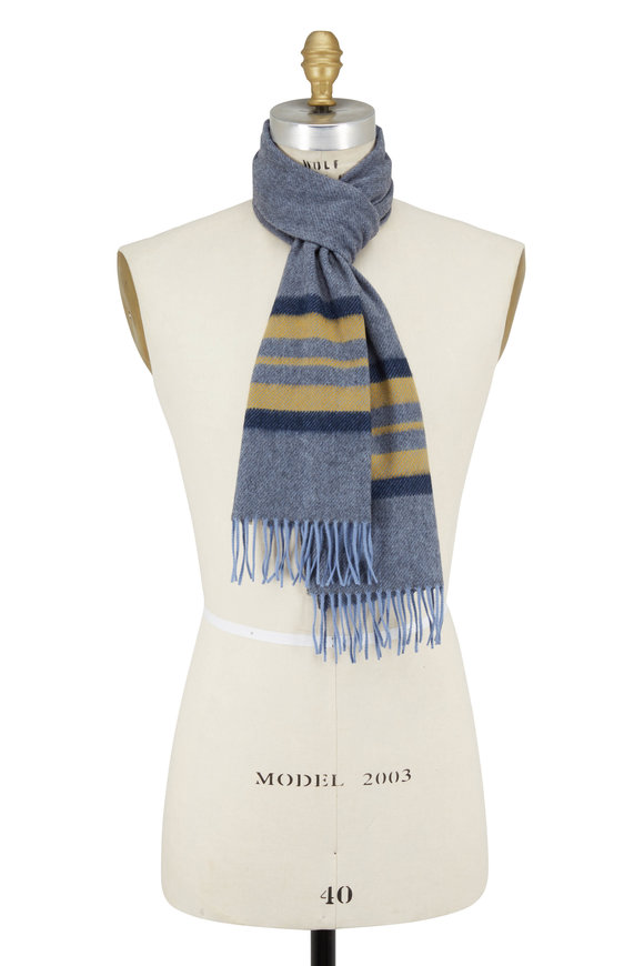 Chelsey Imports Gray & Camel Striped Cashmere Scarf