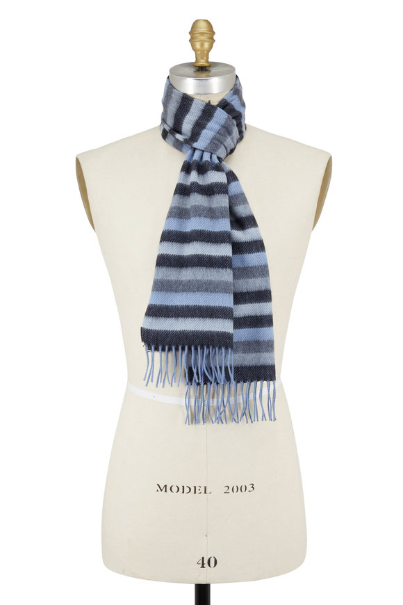 Chelsey Imports Blue & Gray Striped Cashmere Scarf