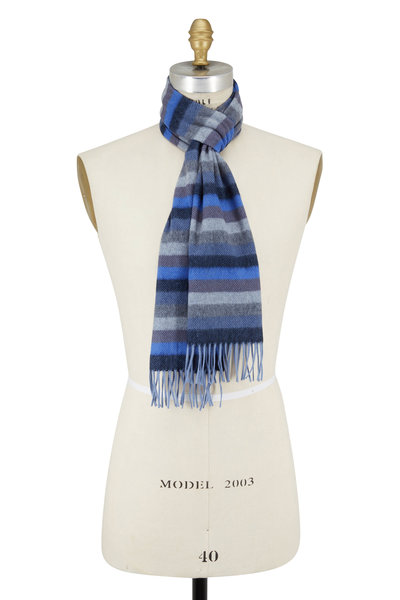 Chelsey Imports - Blue & Gray Striped Cashmere Scarf
