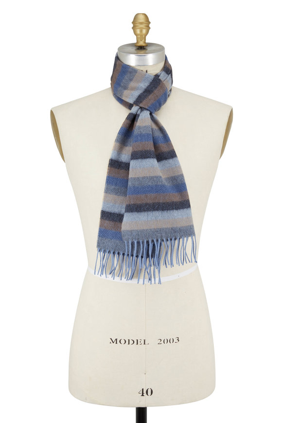 Chelsey Imports Brown & Blue Striped Cashmere Scarf