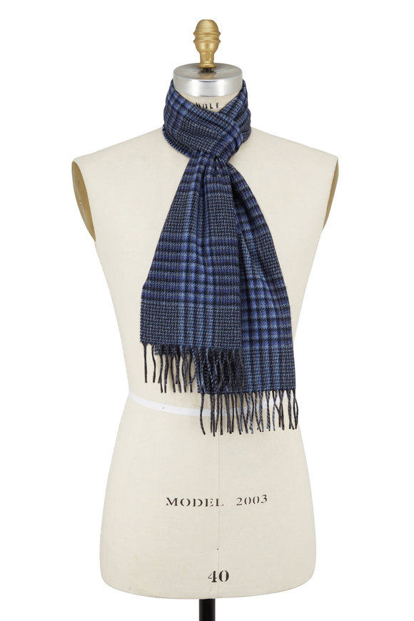 Chelsey Imports Blue & Gray Plaid Cashmere Scarf
