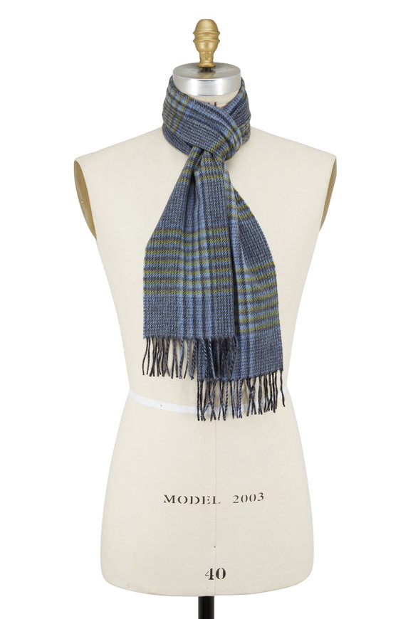 Chelsey Imports Gray & Green Plaid Cashmere Scarf