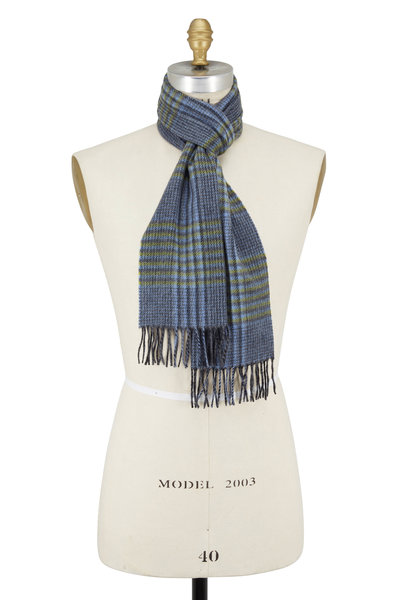 Chelsey Imports - Gray & Green Plaid Cashmere Scarf