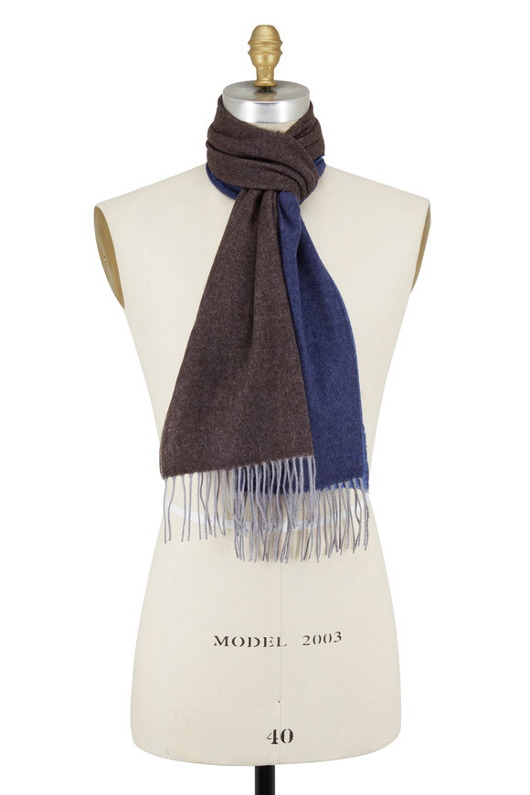 Chelsey Imports Blue & Brown Colorblock Cashmere & Wool Scarf