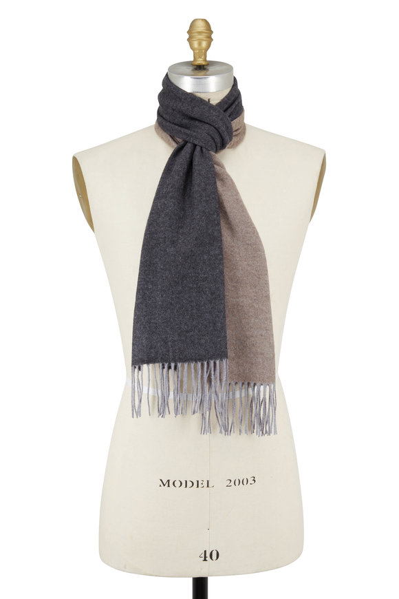 Chelsey Imports Gray Colorblock Cashmere & Wool Scarf