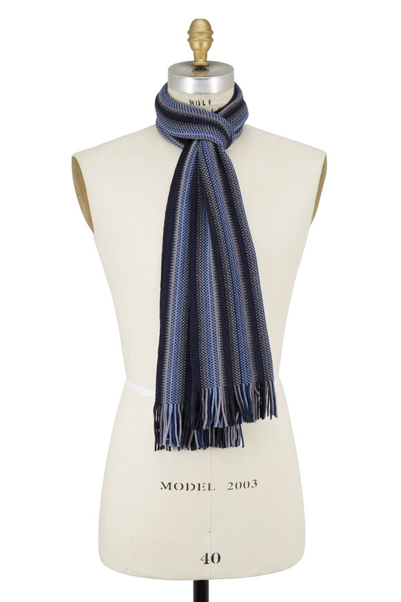 Chelsey Imports Blue & Gray Striped Knit Wool Scarf