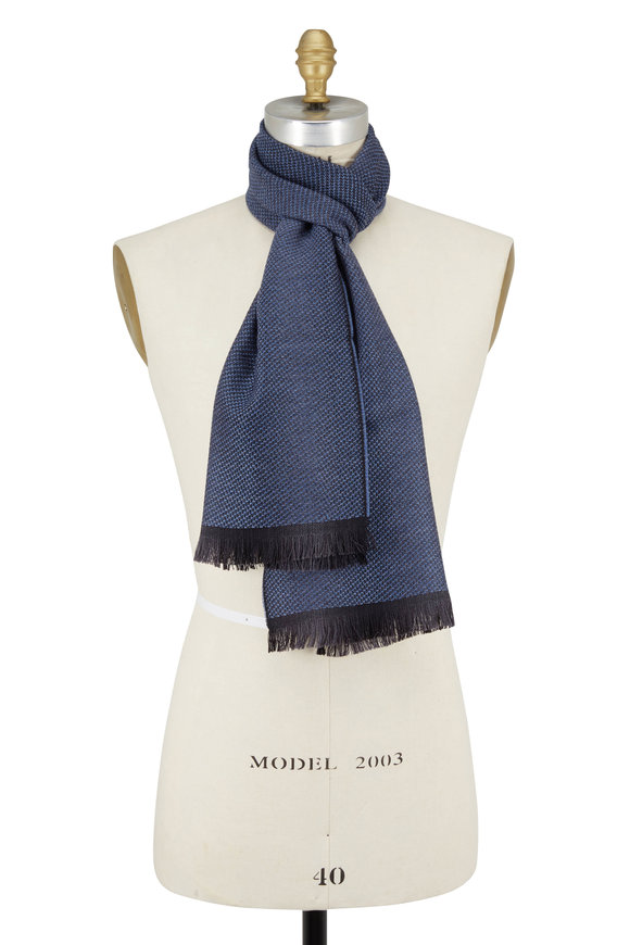 Chelsey Imports Blue Textured Wool Knit Scarf