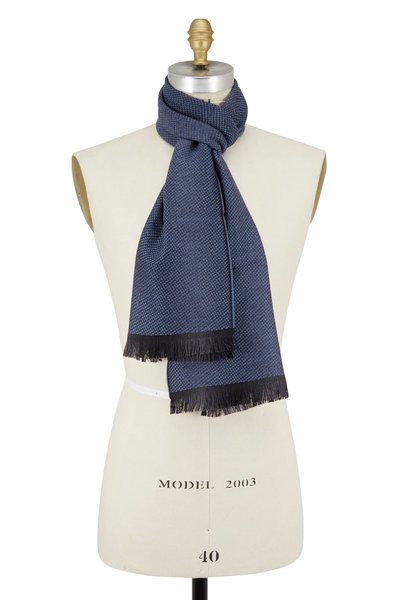 Chelsey Imports - Blue Textured Wool Knit Scarf