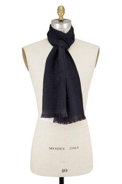 Chelsey Imports - Navy Textured Wool Knit Scarf