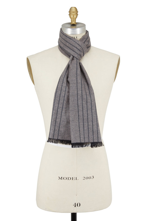 Chelsey Imports Taupe & Gray Herringbone Silk Scarf