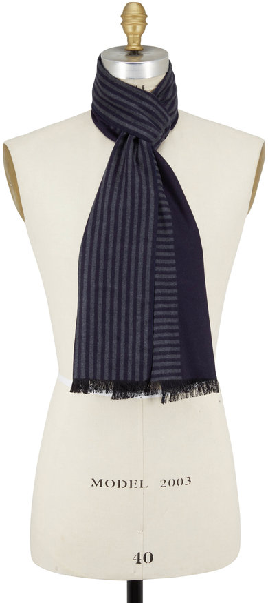 Chelsey Imports Navy Striped Silk Scarf