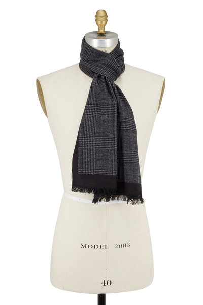 Chelsey Imports - Gray Plaid Silk Scarf