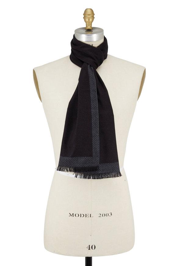 Chelsey Imports Black Herringbone Silk Scarf