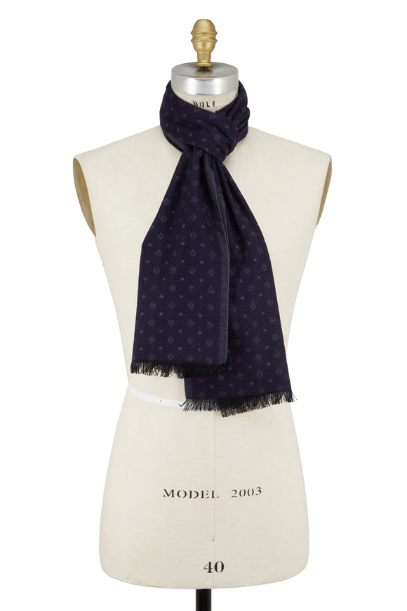 Chelsey Imports Navy Geometric Silk Scarf