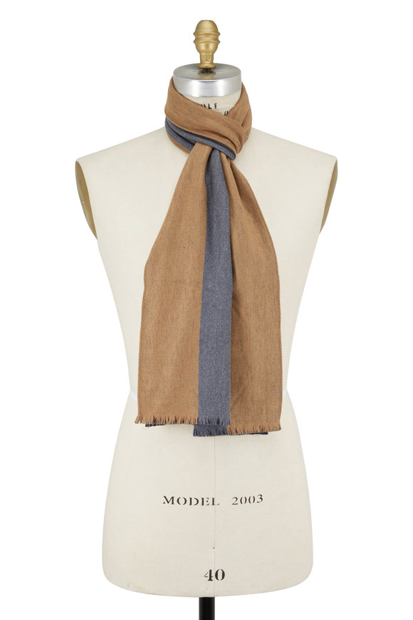 Chelsey Imports Camel & Gray Striped Silk Scarf