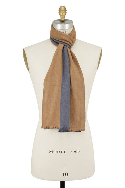 Chelsey Imports - Camel & Gray Striped Silk Scarf