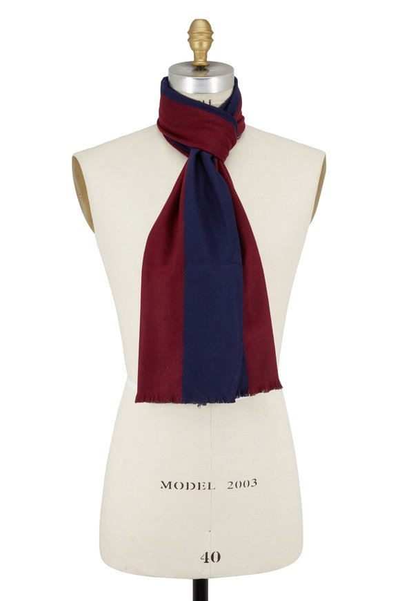 Chelsey Imports Burgundy & Navy Colorblock Silk Scarf