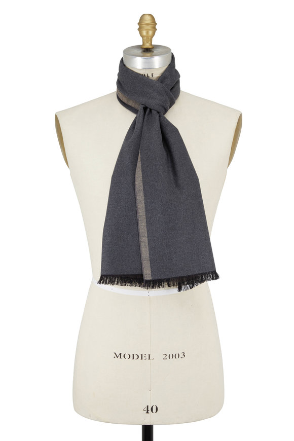 Chelsey Imports Gray & Taupe Silk Scarf