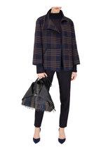 Akris - Corinna Navy & Bark Plaid Wool & Silk Jacket