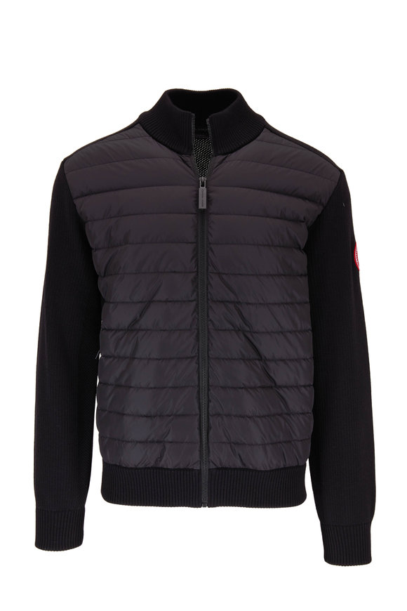 Canada Goose Black Hybridge Quilted Front Knit Jacket
