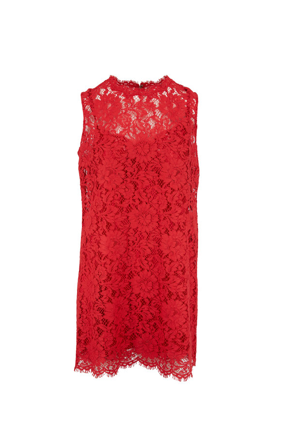 Dolce & Gabbana Red Lace Sleeveless Mini Dress