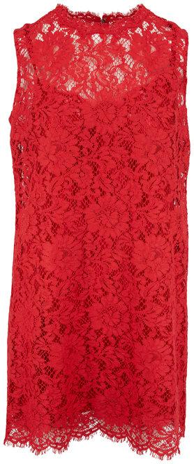 Dolce & Gabbana Red Lace Sleeveless Mini Dress