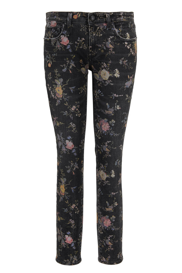 R13 Kate Light Floral Cropped Skinny Jean